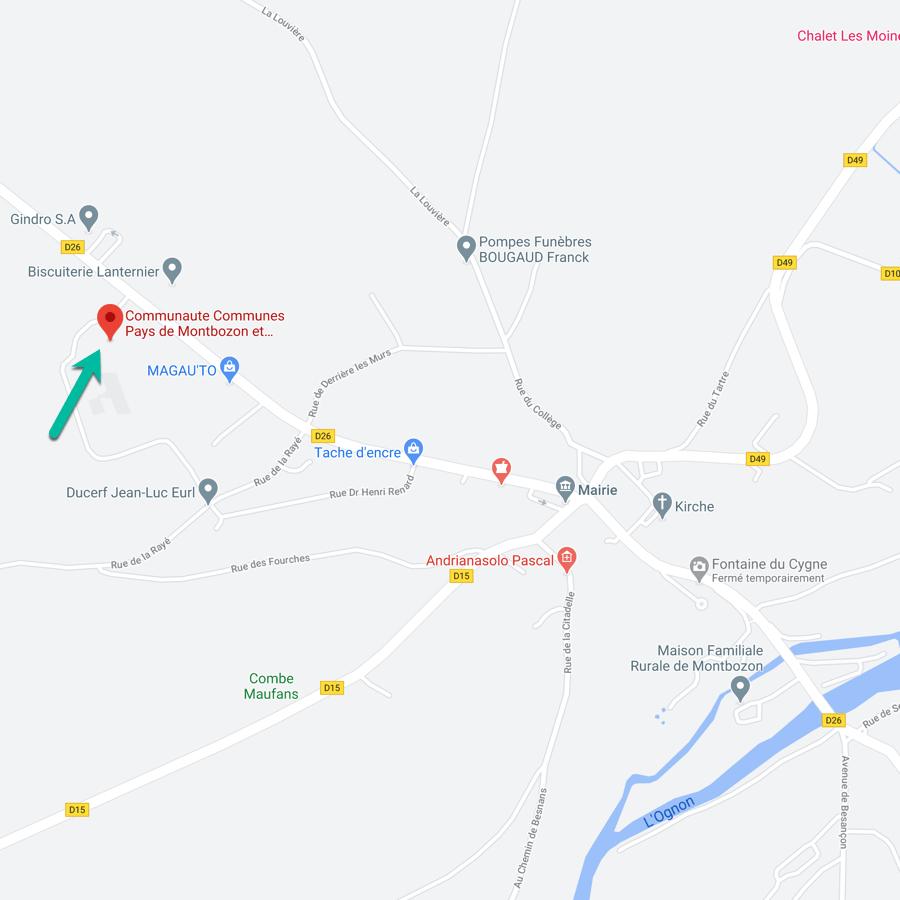 Carte de la Commauté de Communes de Montbozon