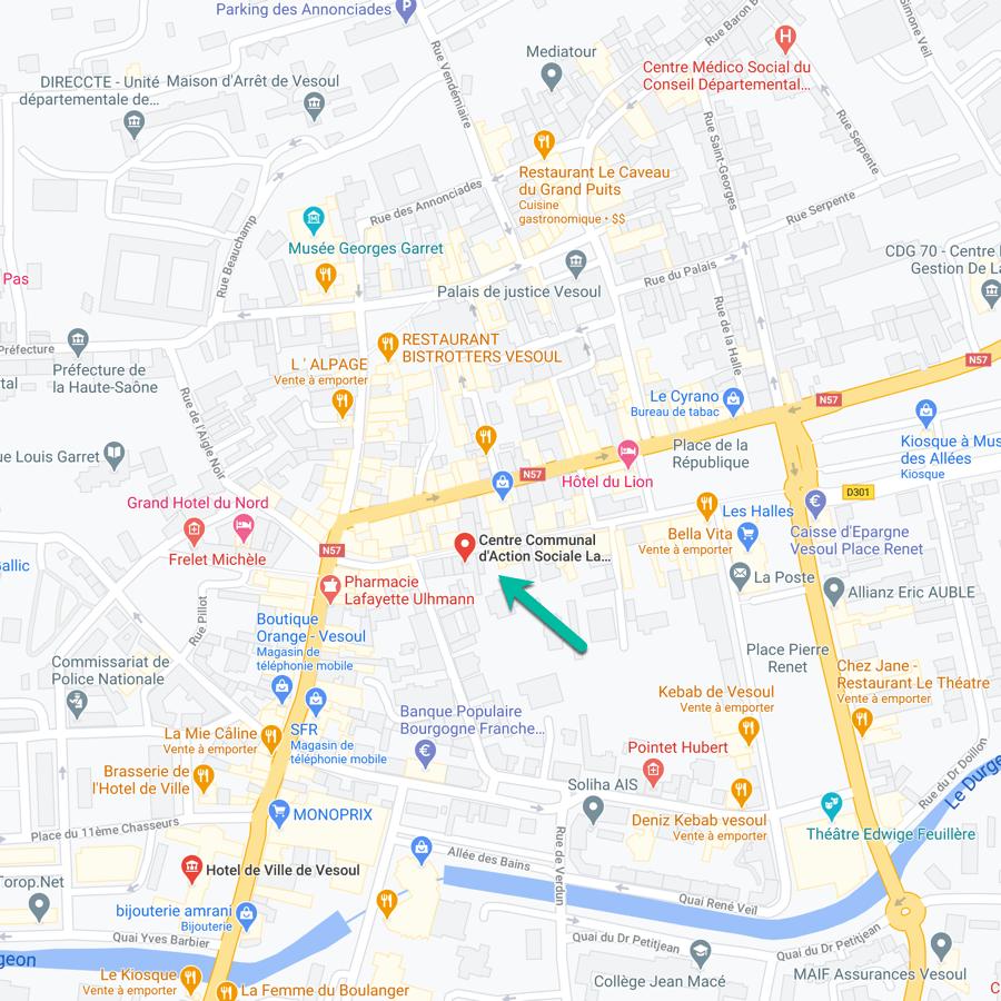 Carte du CCAS à Vesoul