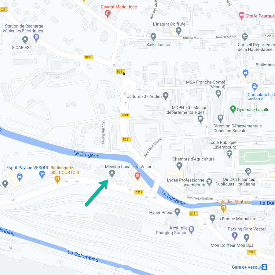 Carte de la Mission Locale de Vesoul